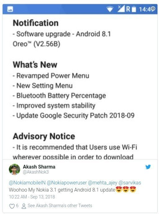 Nokia 3.1 Android 8.1 update